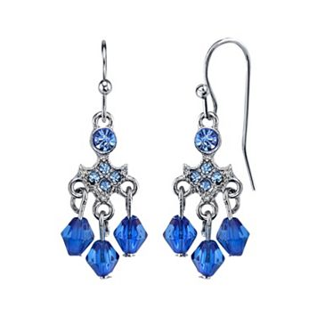 1928 Blue Beaded Nickel Free Chandelier Earrings