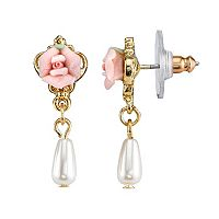 1928 Rose Simulated Pearl Drop Earrings