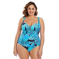 Plus Size Upstream Tummy Slimmer Floral One-Piece Swimsuit