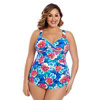 Plus Size Upstream Tummy Slimmer Crossover Sarong One-Piece Swimsuit