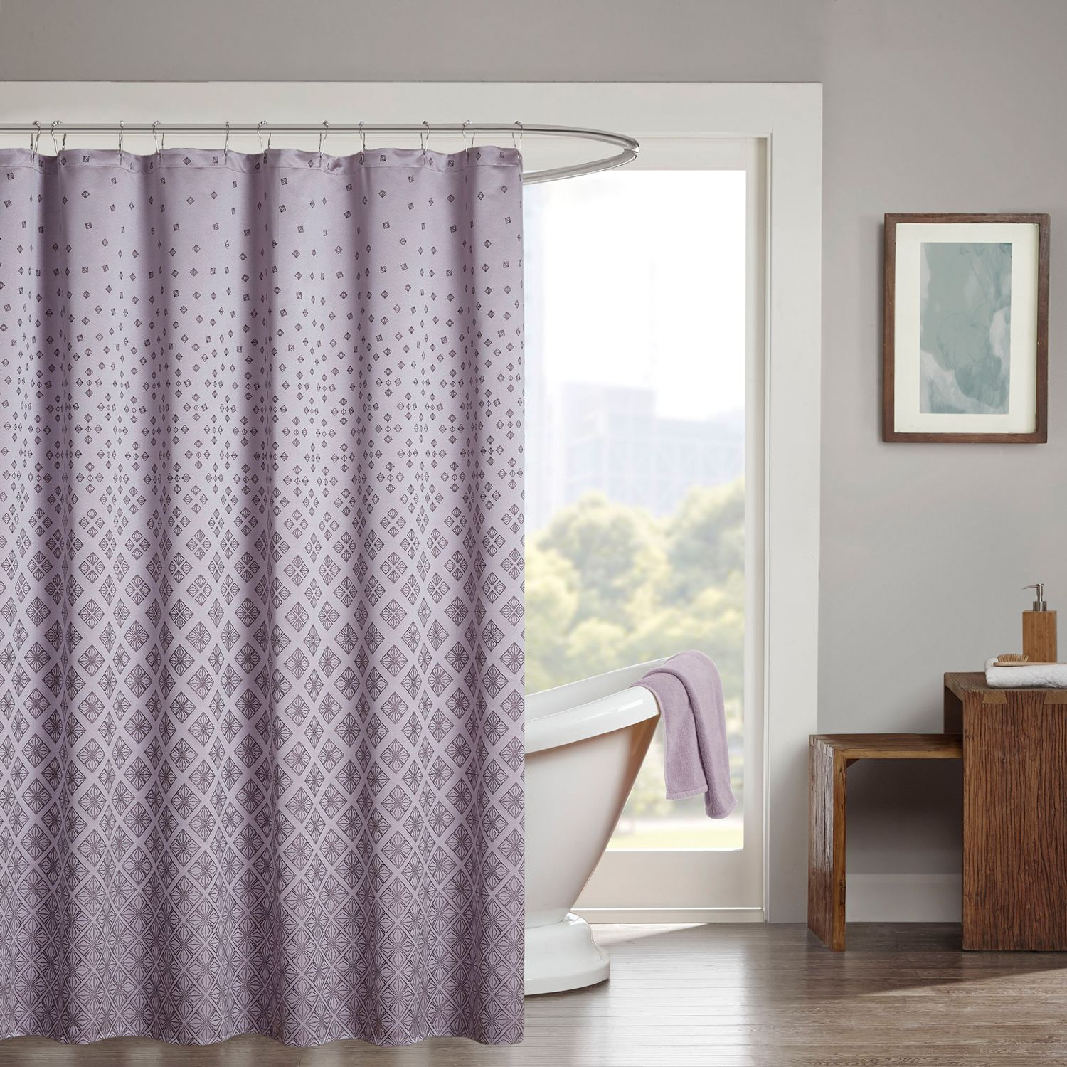 Madison Park Jacquard Shower Curtain. Silver Purple On Purple And Grey Shower Curtain