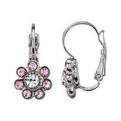 1928 Purple Flower Drop Earrings