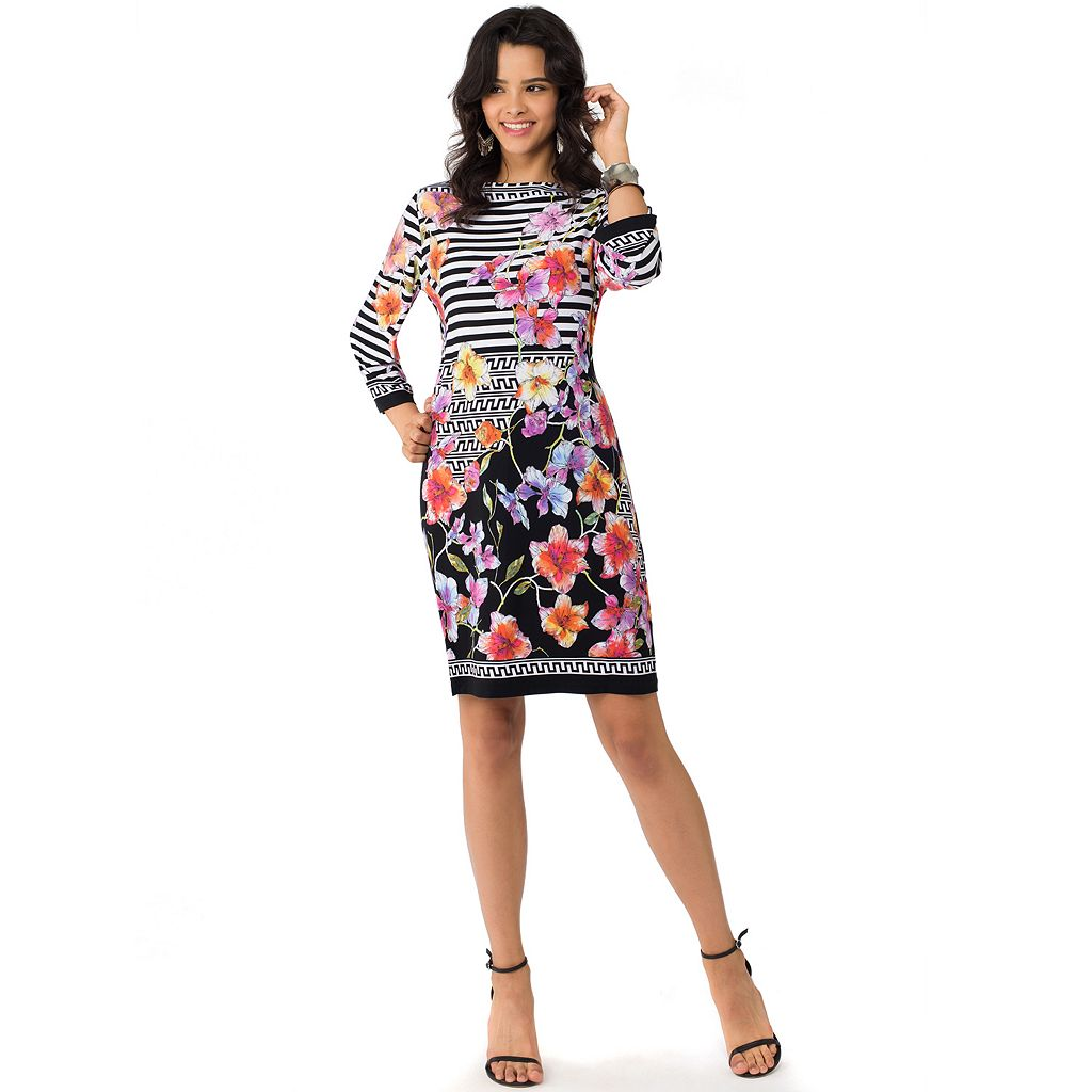 Women's Indication by ECI Floral Striped Sheath Dress