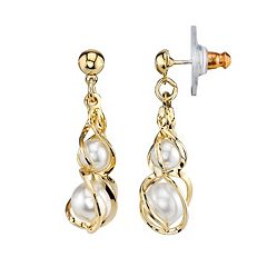 1928 Simulated Pearl Twist Drop Earrings