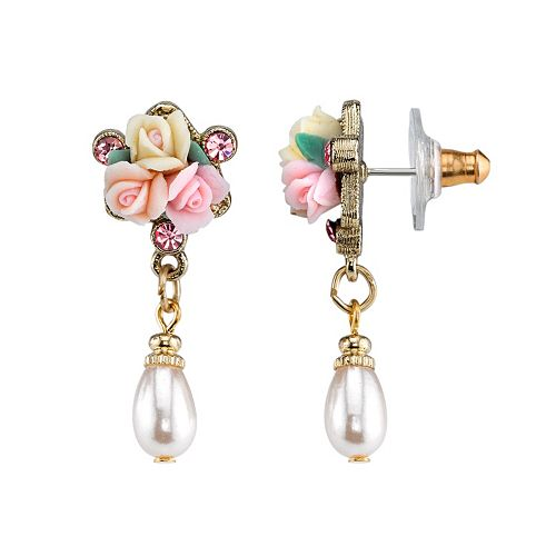 1928 Rose Cluster Simulated Pearl Drop Earrings