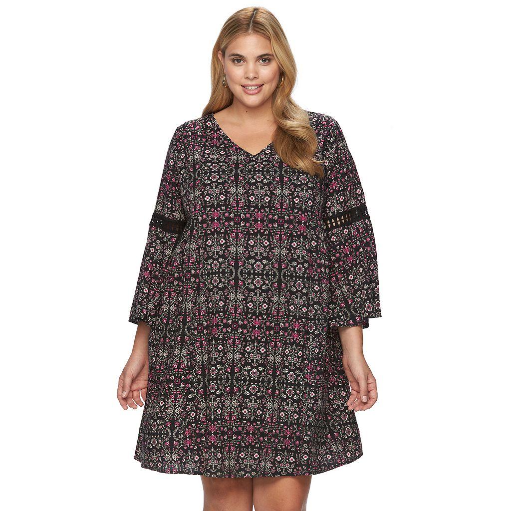 Plus Size Design 365 Printed Eyelet Swing Dress