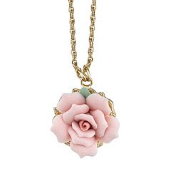 1928 Pink Rose Necklace