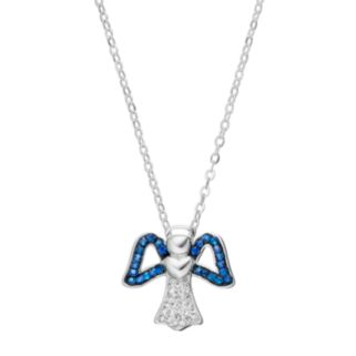 Silver Luxuries Crystal Angel Pendant Necklace