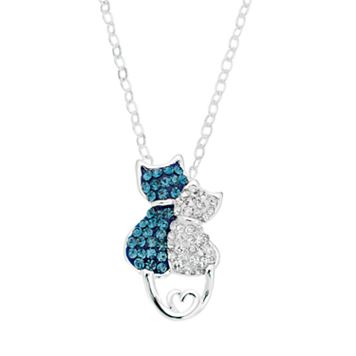 Silver Luxuries Crystal Cat Pendant Necklace