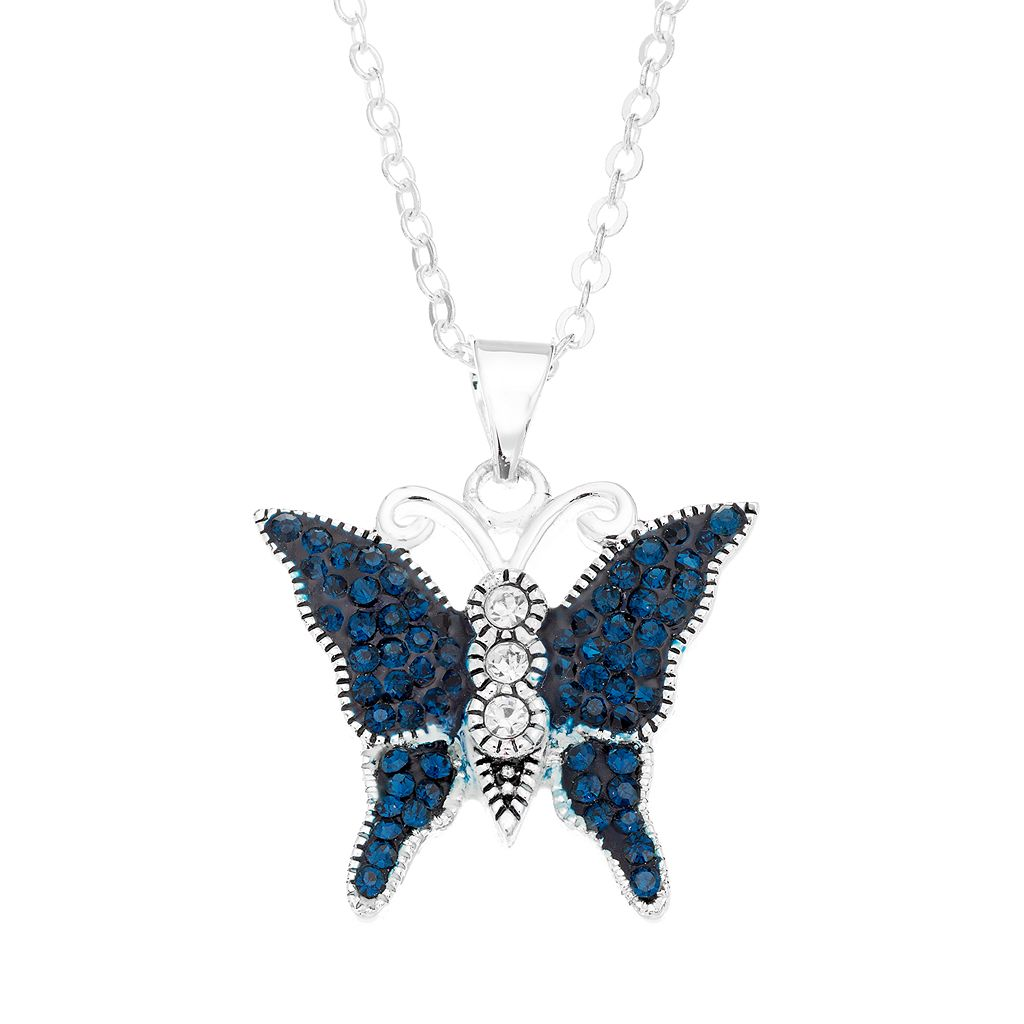 Silver Luxuries Crystal Butterfly Pendant Necklace
