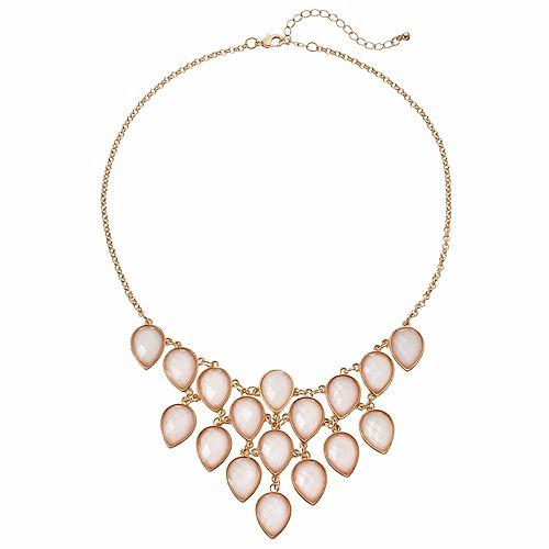 Mudd® Pink Teardrop Statement Necklace