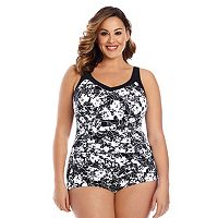 Plus Size Upstream Tummy Slimmer Shirred One-Piece Swimsuit