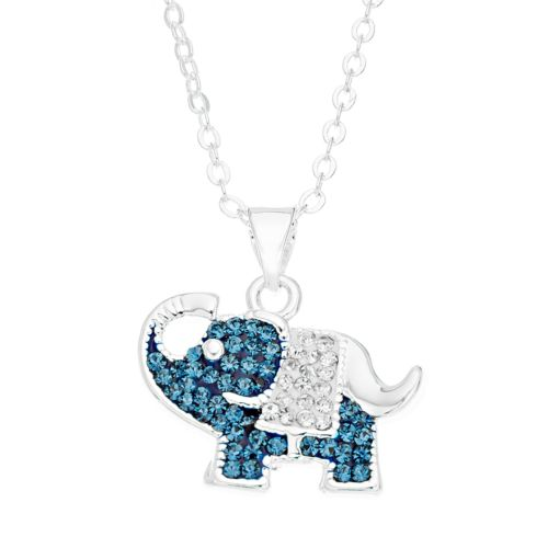 Silver Luxuries Crystal Elephant Pendant Necklace