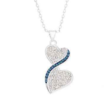 Silver Luxuries Crystal Double Heart Pendant Necklace