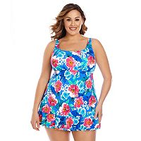 Plus Size Upstream Tummy Slimmer Floral Swimdress