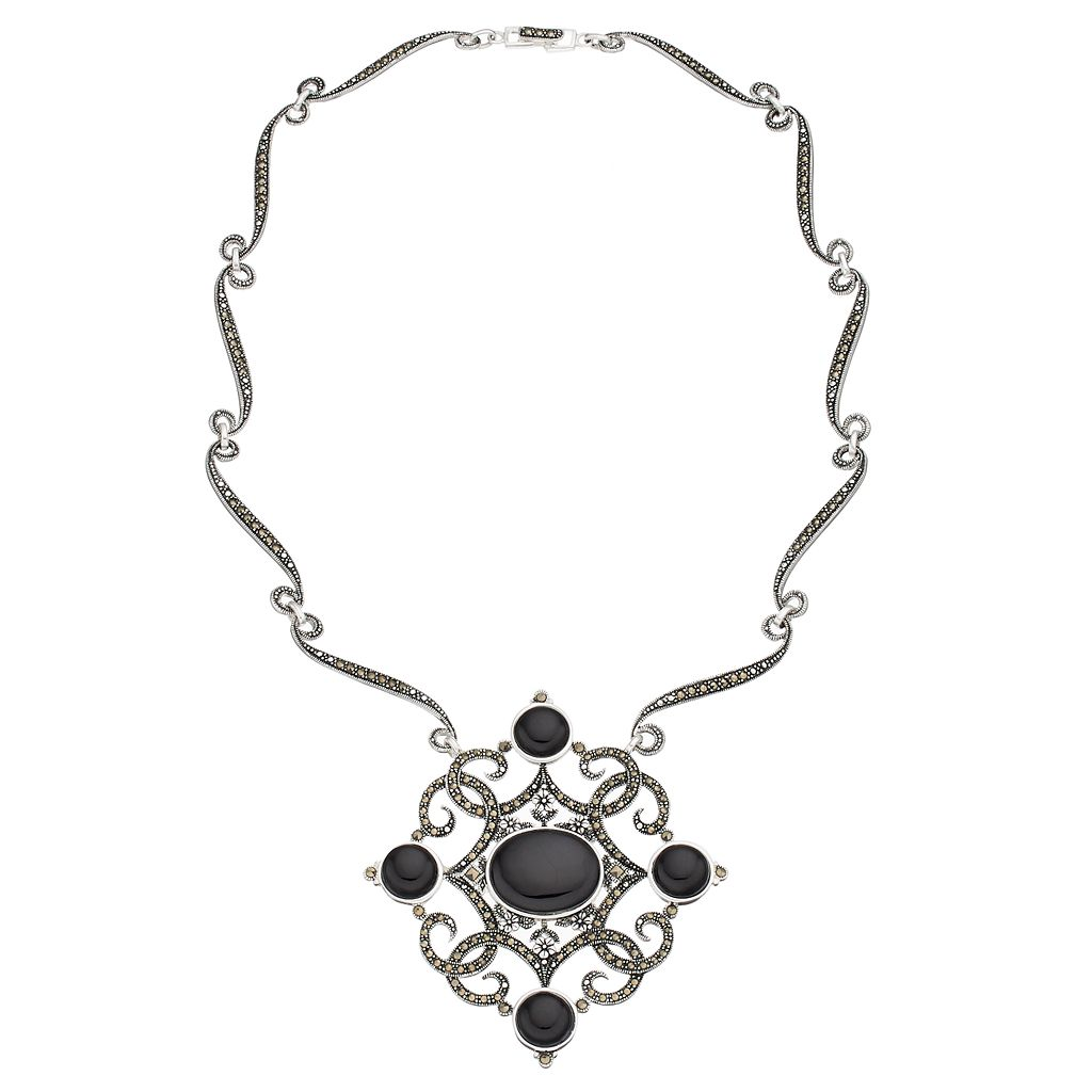 Silver Plated Black Agate & Marcasite Filigree Necklace