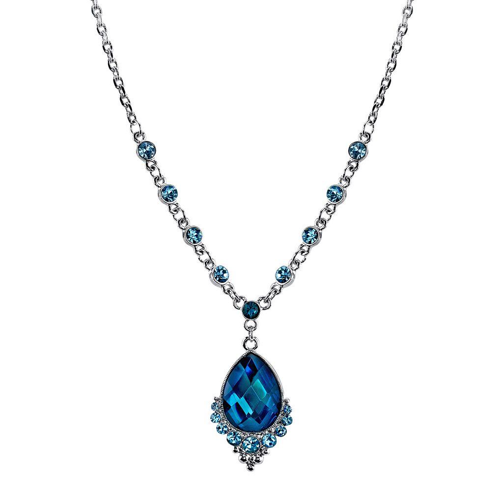 1928 Blue Teardrop Necklace