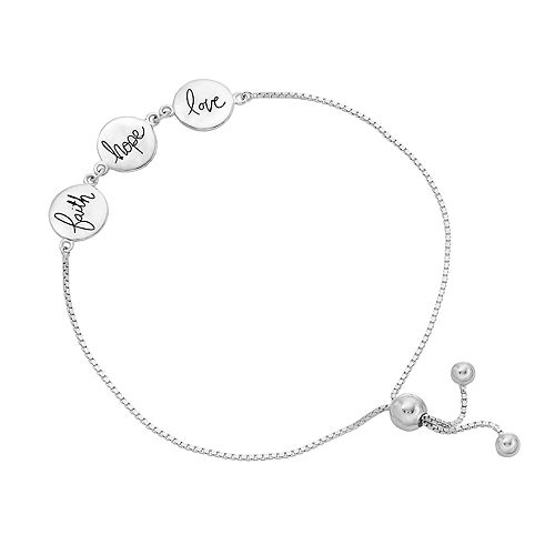 Timeless Sterling Silver Faith Hope Love Bolo Bracelet