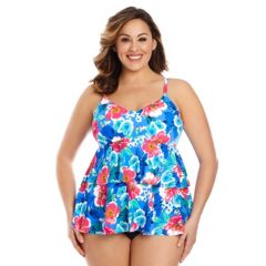 Plus Size Upstream Floral Tiered Tankini Top