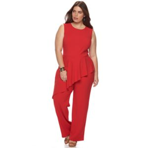 Plus Size Apt. 9® Asymmetrical Peplum Jumpsuit