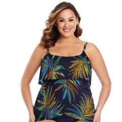 Plus Size Upstream Tropical Tiered Tankini Top