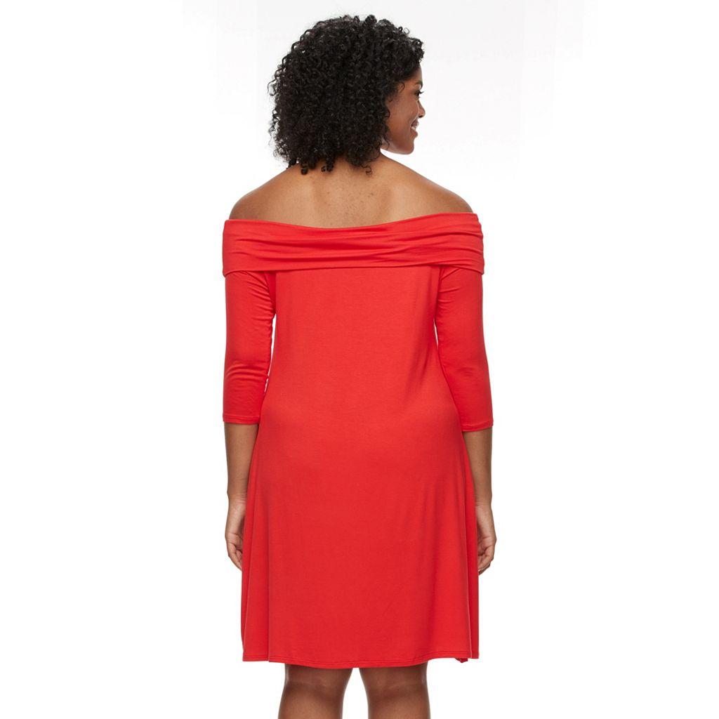 Plus Size Apt. 9® Off-the-Shoulder Shift Dress
