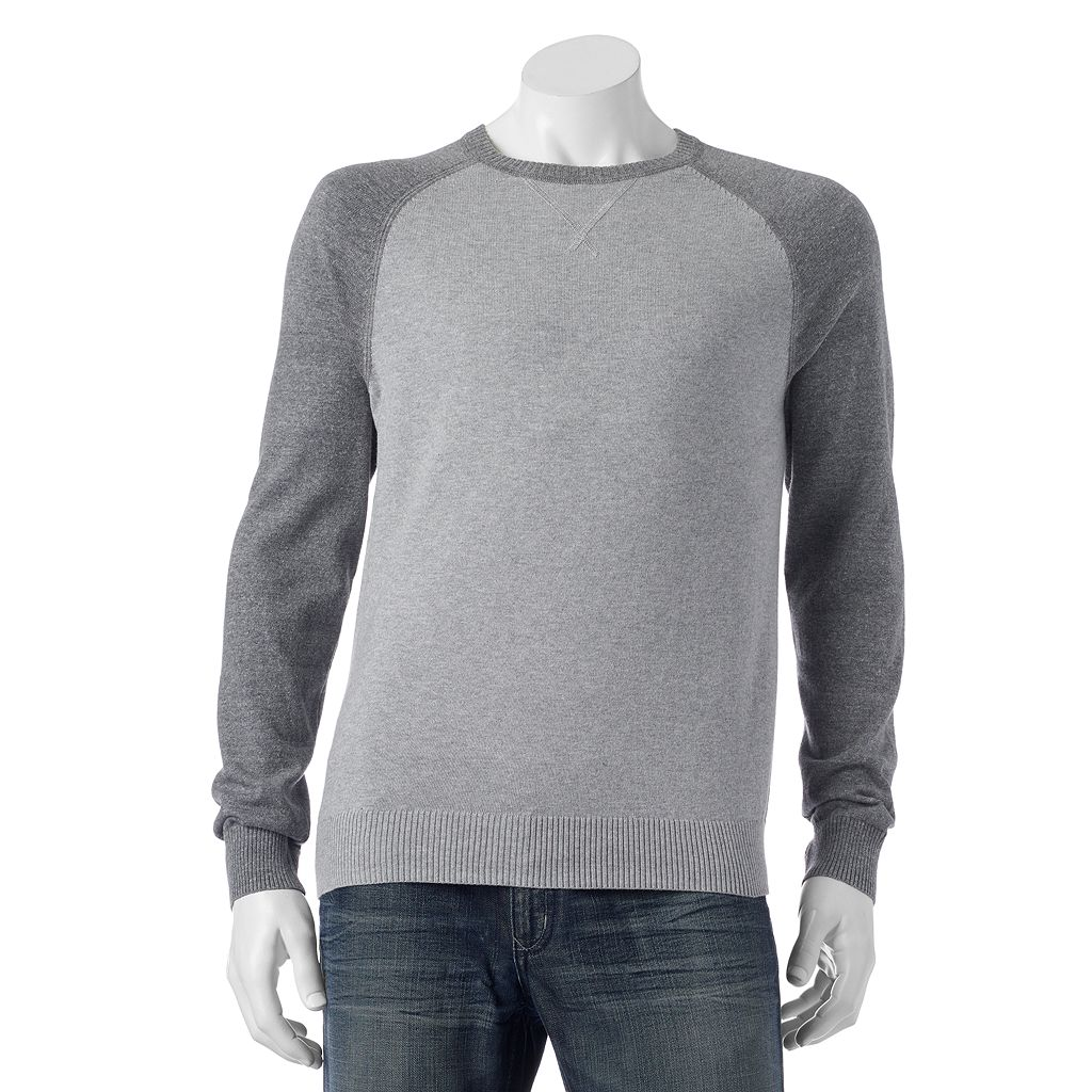 Big & Tall SONOMA Goods for Life® Classic-Fit Colorblock Fine Gauge Crewneck Sweater