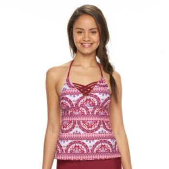 Mix and Match Medallion Apron-Back Halterkini Top