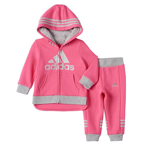 e788d30f4 Baby Girl adidas Fleece-Lined High-Low Hooded Jacket & Jogger ...
