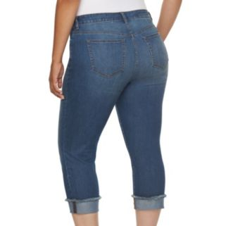 Plus Size Jennifer Lopez Frayed Roll-Cuff Capri Jeans