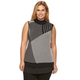 Plus Size Dana Buchman Textured Stripe Mock-Layer Sweater