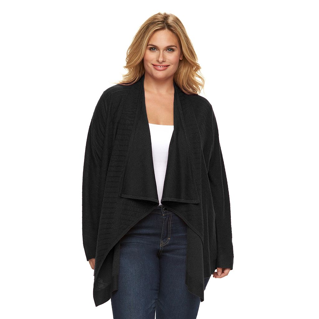 Plus Size Dana Buchman Striped Open-Front Cardigan