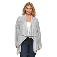 Plus Size Dana Buchman Striped Open-Front Cardigan