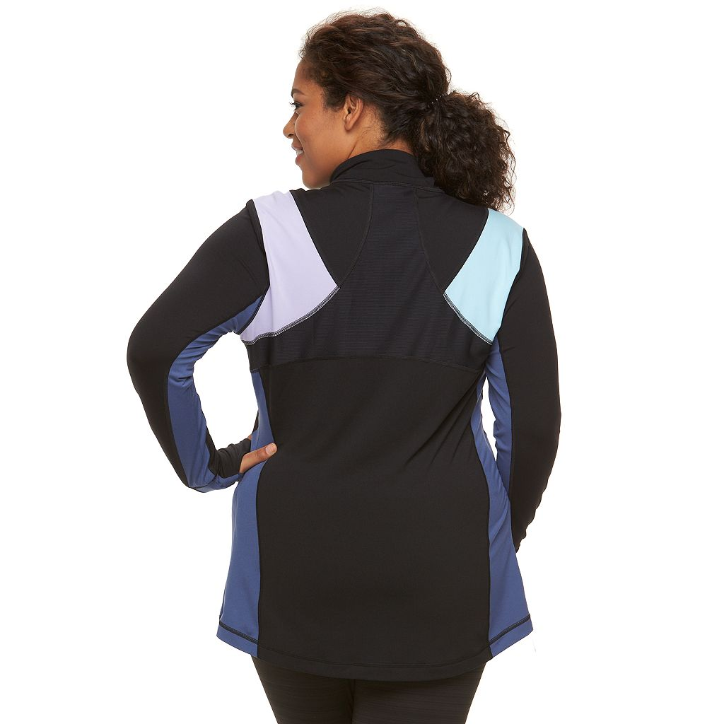 Plus Size FILA SPORT® Colorblock Quarter-Zip Jacket