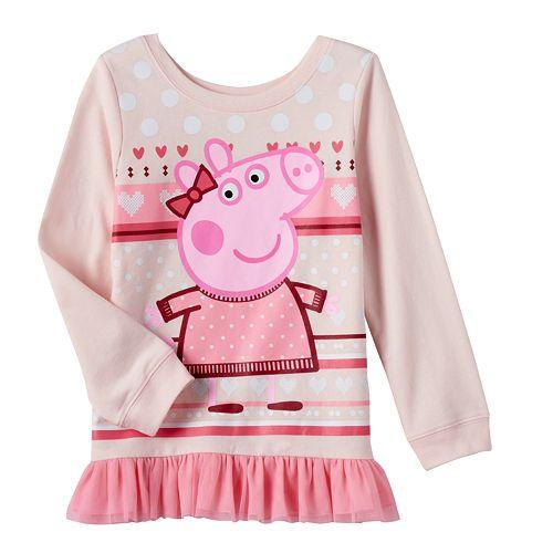 736f88978d8cf0 Girls 4-6x Peppa Pig Mesh Trim Tunic Top