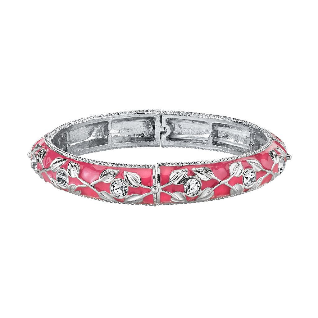 1928 Pink Leaf Hinged Bangle Bracelet