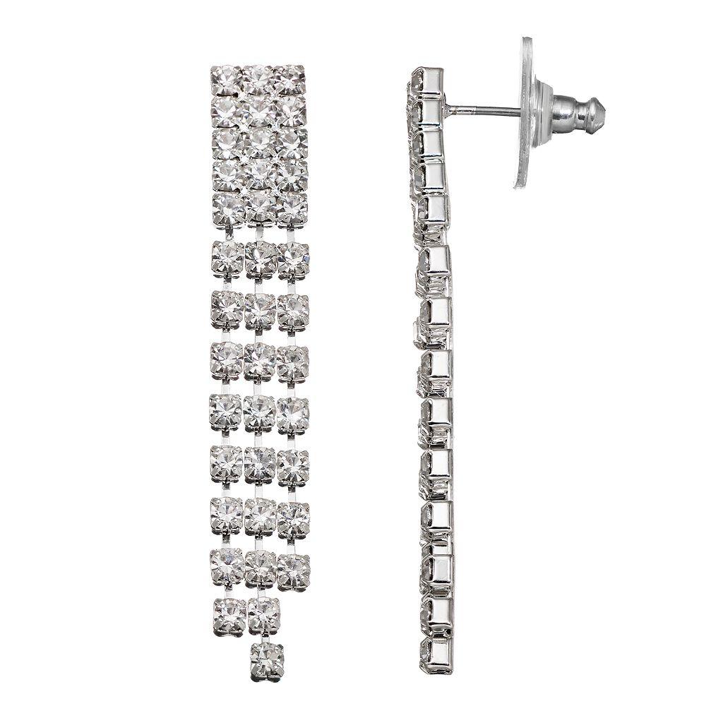 Simulated Crystal Fringe Nickel Free Drop Earrings