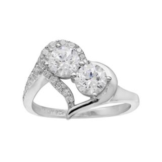 INTERTWINED Sterling Silver Cubic Zirconia 2-Stone Heart Ring