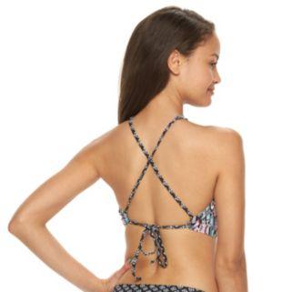 Mix and Match Geometric High-Neck Halter Bikini Top