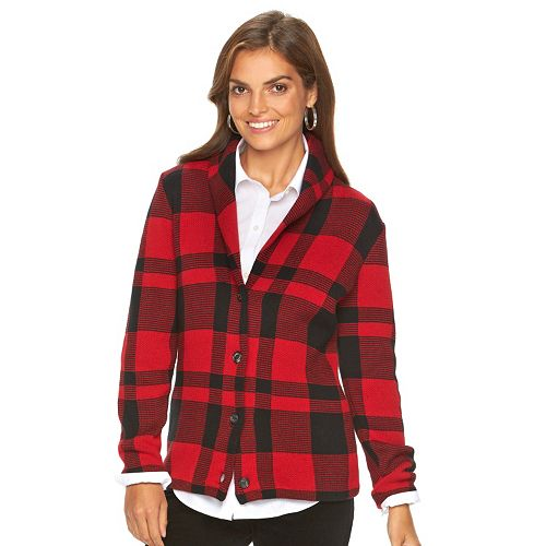 Women's Chaps Plaid Sweater Jacket