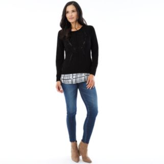 Women's AB Studio Ribbed Mock-Layer Sweater