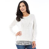 Women's AB Studio Ribbed Mock-Layer Sweater