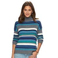 Women's Chaps Striped Mockneck Sweater