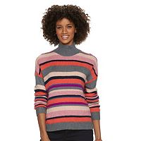 Women's Chaps Striped Mockneck Sweater