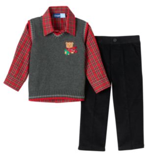 Toddler Boy Great Guy Embroidered Bear Sweater Vest, Plaid Shirt & Corduroy Pants Set