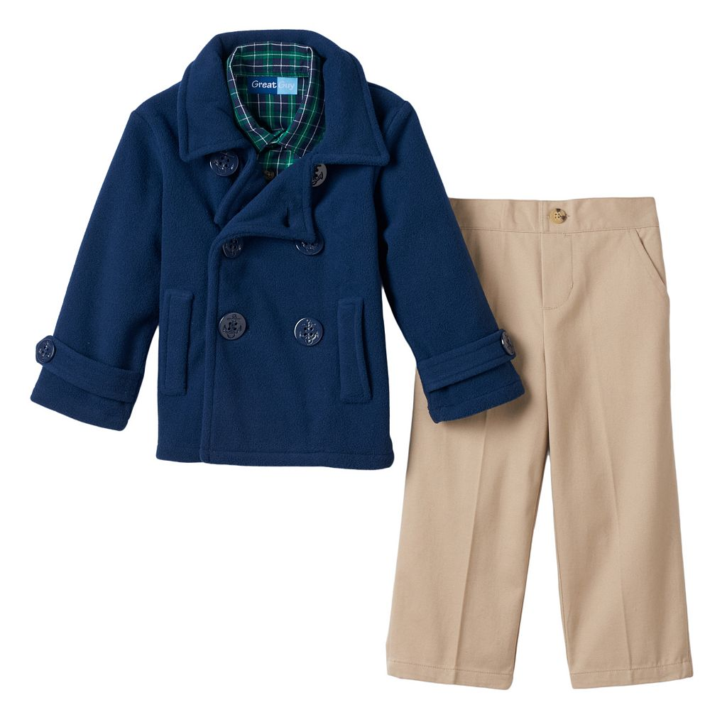 Toddler Boy Great Guy Fleece Peacoat, Shirt & Pants Set