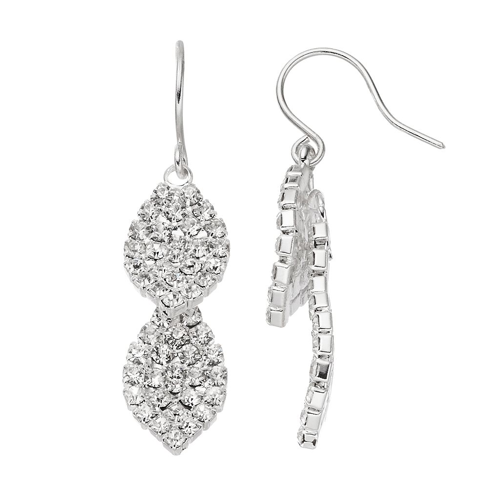 Simulated Crystal Nickel Free Double Leaf Drop Earrings
