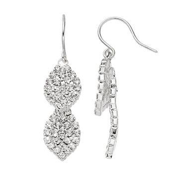 Simulated Crystal Nickel Free Double Leaf Drop Earrings