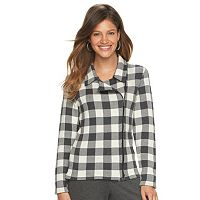 Women's Chaps Buffalo Check Asymmetrical Sweater Jacket