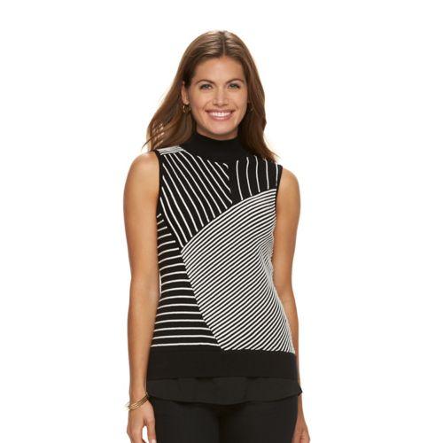 Petite Dana Buchman Textured Stripe Mockneck Sweater